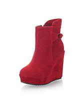 Chaussures Femme Faux Daim Talon Compensé Compensées/A Plateau/Bottine Bottes Habillé Noir/Marron/Rouge