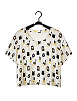 De las mujeres Camiseta Escote Redondo - Poliéster - Manga Corta