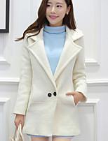 Women's Casual Long Sleeve Long Trench Coat (Wool/Microfiber)