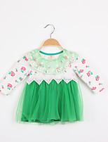 Girl's Cotton Blend/Organza Dress , Summer Long Sleeve