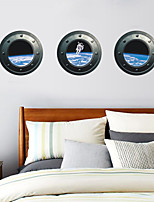 3 Pcs Outer Space Astronauts Window PVC Wall Sticker Wall Decals