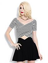 Fashion cross short striped T-shirt skirts (a set)