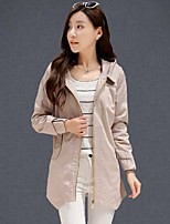 Women's Solid Pink/Red/Green/Yellow Trench Coat , Casual Long Sleeve Cotton