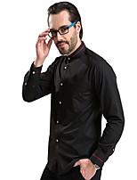 Camisa De los hombres Casual/Trabajo/Formal Un Color - Algodón/Poliéster