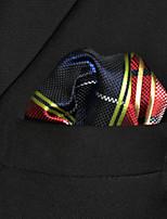 Men's Business Checked Crimson  Pocket Square