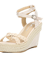 Women's Shoes  Wedge Heel Wedges/Peep Toe Sandals Casual Blue/Beige