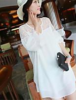 Women's Casual Inelastic Short Sleeve Long Blouse (Cotton Blends)