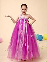 פרח שמלת ילדה - שמלת נשף - אורך עד לרצפה - ללא שרוולים - טול