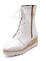 Calçados Femininos - Botas - Bico Fino / Botas da Moda - Anabela - Preto / Branco - Courino - Social