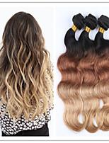 3Pcs/Lot Ombre Brazilian Hair Hot Ombre Body Wavy Three Tone 1b/4/27# Brazilian Virgin Hair Ombre Hair Extensions
