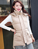 Women's High Collar Slim Thin Sleeveless Long Hooded Down Coat , Casual/Cute/Work Cotton/Polyester/Feather