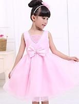 A-line Tea-length Saten/Tül Kolsuz Çiçek Kız Elbise
