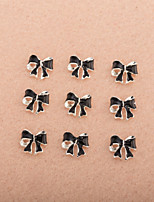 10Pcs/Set Cute Black Bowtie Diamond 3D Alloy Nail Art Decoration