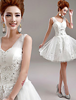 A-line Short/Mini Wedding Dress - V-neck Tulle