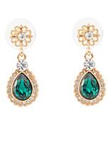 18k Gold Plated Green Rhinestone Glamorous Dangle Earrings