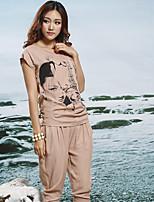 Women's Print Blue/Beige T-shirt , Hooded Short Sleeve