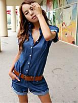 Women's Solid Blue Denim Pant , Casual Shirt Collar Short Sleeve