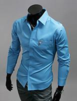 Men's Casual Pure Long Sleeve Regular Shirt (Cotton/Polyester)