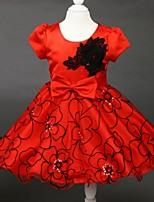 A-line Tea-length Saten/Tül Kısa Kol Çiçek Kız Elbise