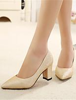 Women's Shoes Kitten Heel Heels/Pointed Toe Pumps/Heels Office & Career/Casual Black/White/Gold