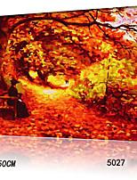 peinture à l'huile numérique bricolage en bois massif avec la peinture de plaisir en famille de trame par moi-même les feuilles d'automne