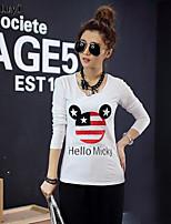 Women's Round Neck T-shirt , Cotton Long Sleeve
