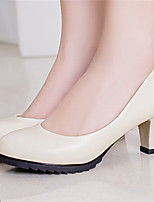 Women's Shoes  Chunky Heel Pointed Toe Pumps/Dress Black/White/Beige