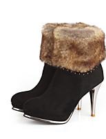 Damesschoenen Kunstleer Stilettohak Ronde neus/Modieuze laarzen Laarzen Casual Zwart/Bruin/Groen