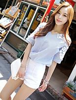 Women's Striped Blue Shirt , V Neck ½ Length Sleeve Hollow Out