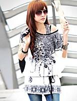 Women's Casual Work Micro Elastic Short Sleeve Regular T-shirt (Others)