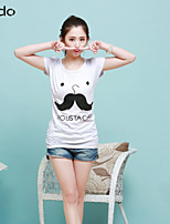 Women's Print White T-shirt , Round Neck Short Sleeve Ruched