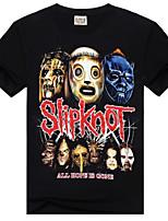 Men's 3D O-Neck Short-Sleeve Ghost Mask Printing T-Shirt (Cotton)