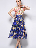 Women's Blue Skirts , Casual Knee-length