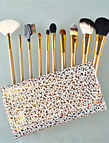 10 pcs Golden Design Goat Hair Qualtiy Makeup Brush Set
