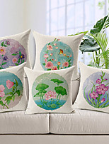 Set of 5 Country Flowers Patterned Cotton/Linen Decorative Pillow Covers