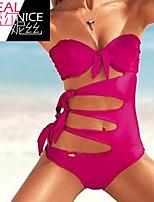 Women's Halter One-pieces , Solid Underwire Bra Polyester Pink/Black