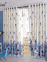 (One Panel) The Flying Blue Flowers Linen Room Darkening Lined Curtain