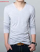 85% Cotton 2015 Men Long Sleeve Sport Men T-Shirt V-Neck Size M-3XL