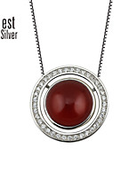 Woman's Necklace S925 Silver Plated Platinum Diamond Agate Round Pearl Necklace F123