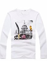 2015 neuen Ankunft Männer Casual Druck Langarm regulären T-Shirt (Baumwolle)