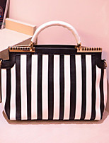 Handcee® Best Seller Woman PU Stripe Fashion Tote Bag