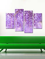 VISUAL STAR®Wisteria Flowers Canvas Print Stretched Canvas Print Four Panels High Quality Canvas Ready to Hang