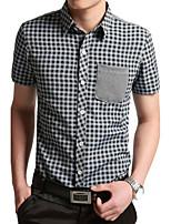 Men's Plaid Pattern Western Style Fashion Male Short Shirt