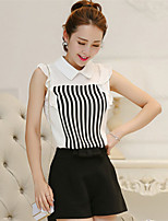 Women's Striped White/Black T-shirt , Notch Lapel Short Sleeve
