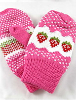 Women Cute Lovely More Warm Fluffy Strawberry Cotton Blend Gloves