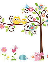 70*50cm Cute Owl Vinyl Wall Art Stickers Baby Room Decals Tree Branch Happy Family