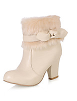 Women's Shoes Chunky Heel Fashion Boots/Round Toe Boots Dress Black/White/Beige