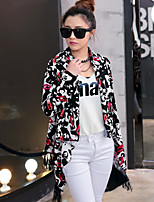 Women's Print Black Trench Coat , Casual/Print Long Sleeve Cotton/Cotton Blends Tassel