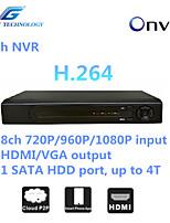 grande NVR 8ch con la compatibilità onvif2.4, 8ch 1080p / 960p / 720p in ingresso