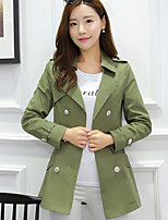 Women's Casual/Work Medium Long Sleeve Regular Trench Coat
